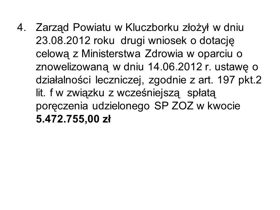 4.Zarząd Powiatu w Kluczborku złożył w dniu 23.08.2012 roku drugi wniosek o dotację celową z Ministerstwa Zdrowia w oparciu o znowelizowaną w dniu 14.