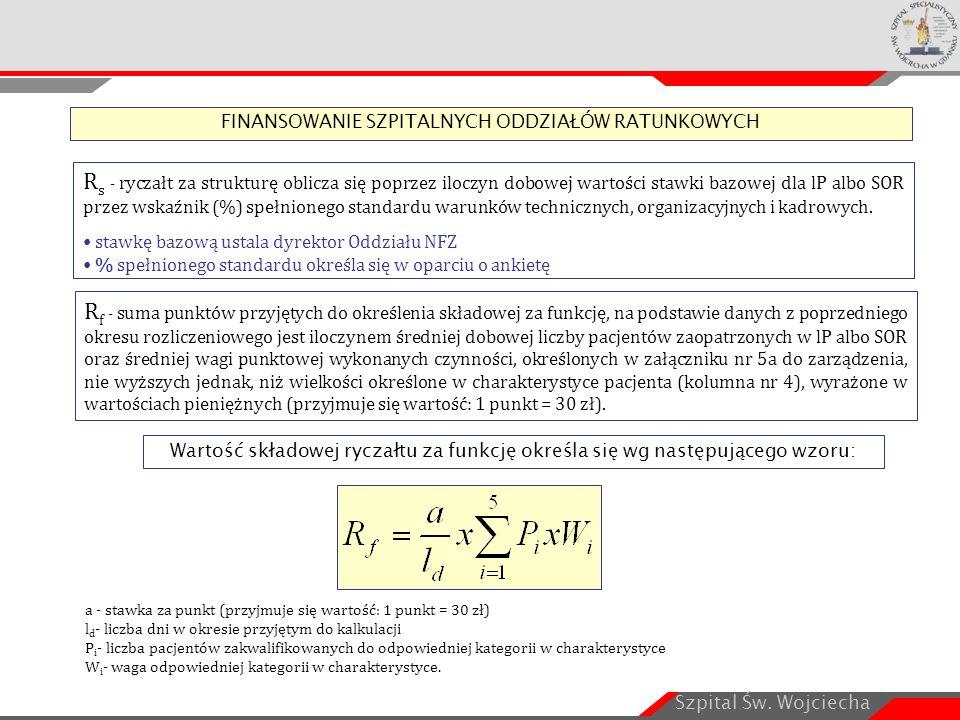 Szpital Św. Wojciecha R s - ryczałt za strukturę oblicza się poprzez iloczyn dobowej wartości stawki bazowej dla lP albo SOR przez wskaźnik (%) spełni
