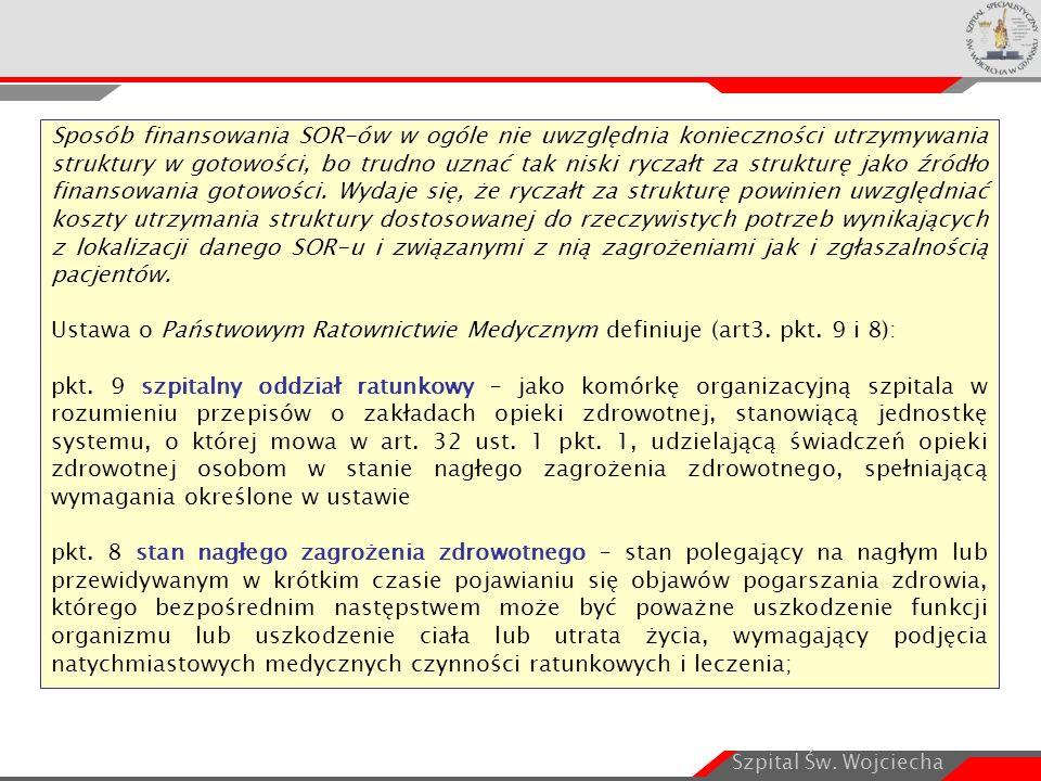 Szpital Św. Wojciecha Sposób finansowania SOR-ów w ogóle nie uwzględnia konieczności utrzymywania struktury w gotowości, bo trudno uznać tak niski ryc