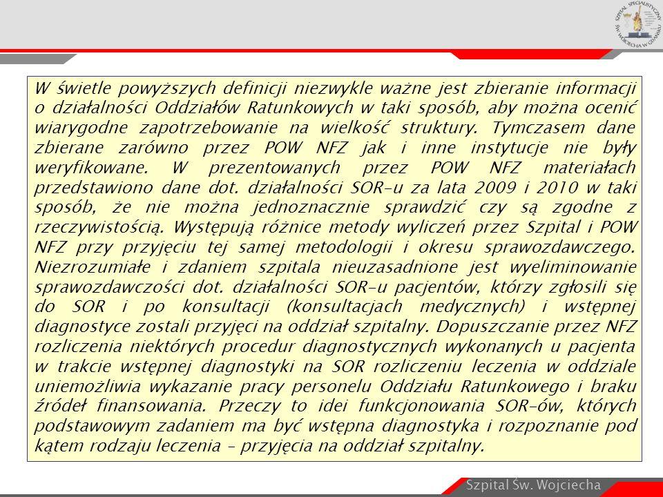 Szpital Św. Wojciecha W świetle powyższych definicji niezwykle ważne jest zbieranie informacji o działalności Oddziałów Ratunkowych w taki sposób, aby