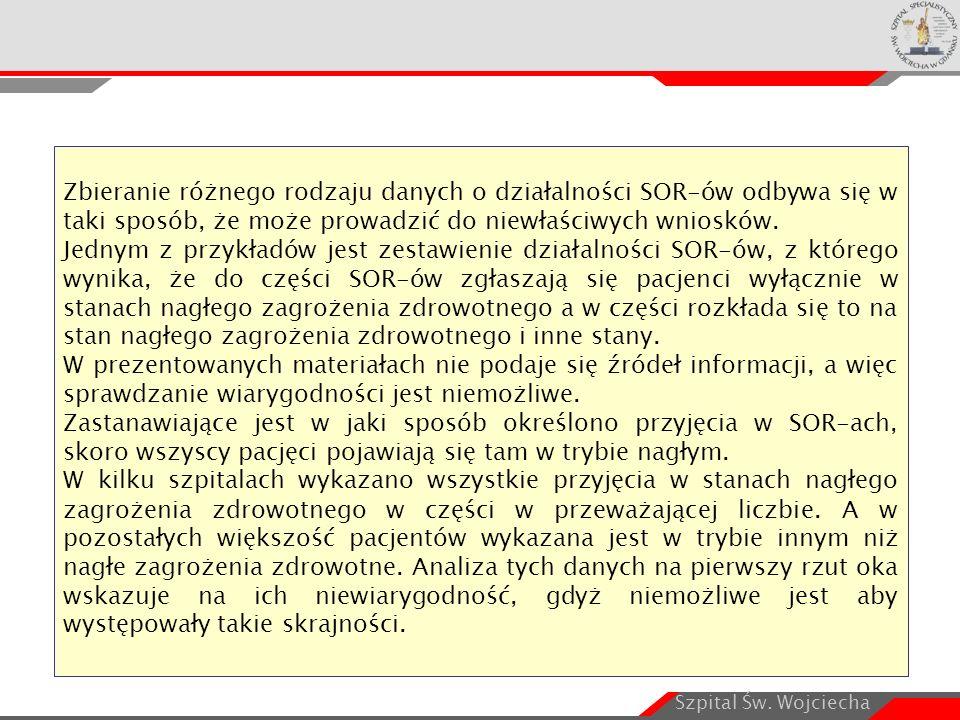 Szpital Św. Wojciecha Zbieranie różnego rodzaju danych o działalności SOR-ów odbywa się w taki sposób, że może prowadzić do niewłaściwych wniosków. Je