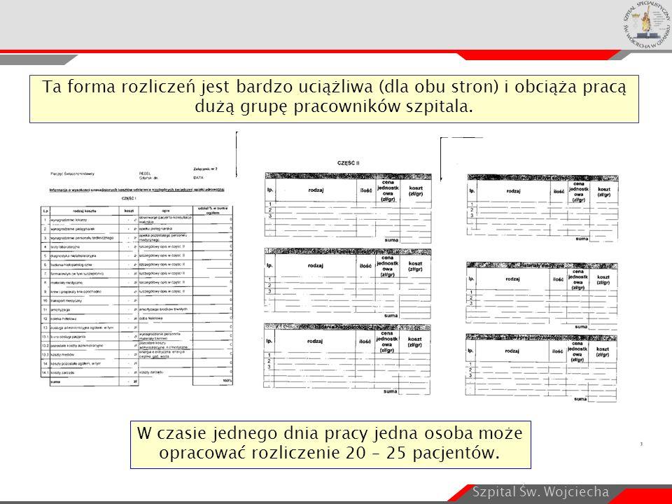Szpital Św. Wojciecha W czasie jednego dnia pracy jedna osoba może opracować rozliczenie 20 – 25 pacjentów. Ta forma rozliczeń jest bardzo uciążliwa (