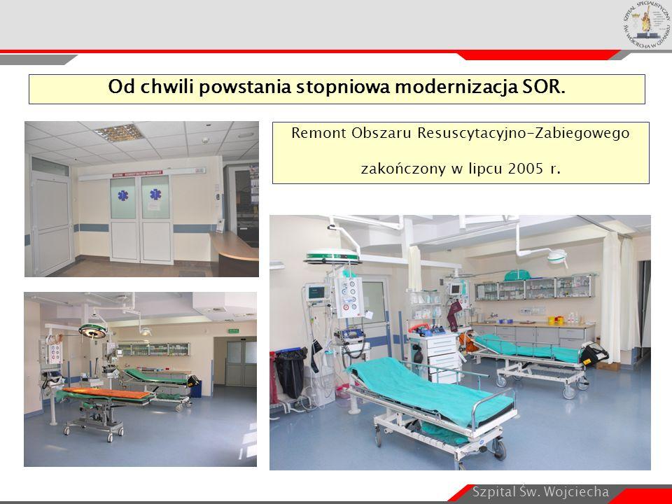 Szpital Św. Wojciecha Od chwili powstania stopniowa modernizacja SOR. Remont Obszaru Resuscytacyjno-Zabiegowego zakończony w lipcu 2005 r.