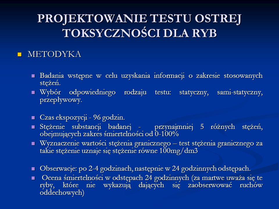 PROJEKTOWANIE TESTU OSTREJ TOKSYCZNOŚCI DLA RYB METODYKA METODYKA Badania wstępne w celu uzyskania informacji o zakresie stosowanych stężeń.