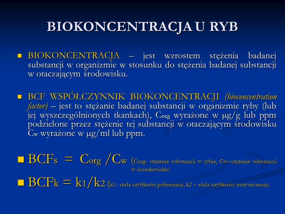 BIOKONCENTRACJA U RYB BIOKONCENTRACJA – jest wzrostem stężenia badanej substancji w organizmie w stosunku do stężenia badanej substancji w otaczającym środowisku.