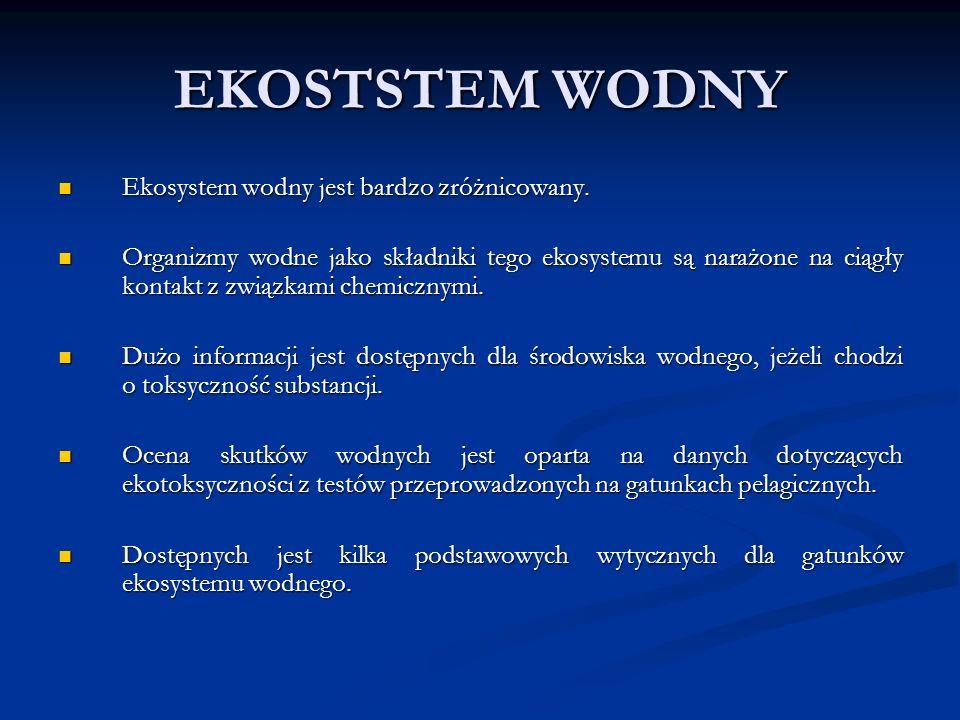 EKOSTSTEM WODNY Ekosystem wodny jest bardzo zróżnicowany.