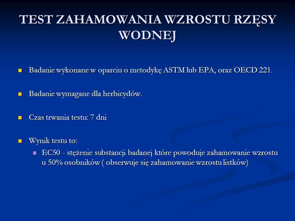 TEST ZAHAMOWANIA WZROSTU RZĘSY WODNEJ Badanie wykonane w oparciu o metodykę ASTM lub EPA, oraz OECD 221.