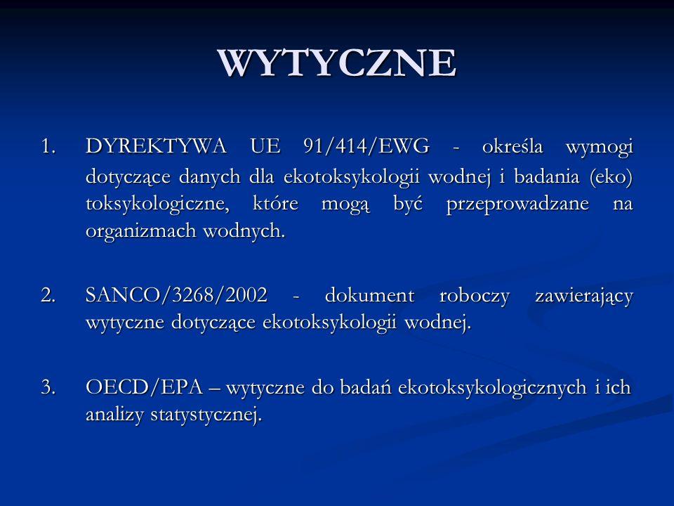 PROJEKTOWANIE TESTU CHRONICZNEJ TOKSYCZNOŚCI DLA RYB TEST PRZEWLEKŁEJ TOKSYCZNOŚCI U RYB MŁODYCH TEST PRZEWLEKŁEJ TOKSYCZNOŚCI U RYB MŁODYCH Wykonany zgodnie z OECD 215 Wykonany zgodnie z OECD 215 Gatunek reprezentatywny – młody pstrąg tęczowy, Gatunek reprezentatywny – młody pstrąg tęczowy, Czas trwania testu – 28 dniowa ekspozycja substancją czynną, Czas trwania testu – 28 dniowa ekspozycja substancją czynną, Wynik testu – NOEC (stężenie nie powodujące dających się zaobserwować skutków), Wynik testu – NOEC (stężenie nie powodujące dających się zaobserwować skutków), TEST TOKSYCZNOŚCI RYB MŁODYCH (WCZESNYCH STADIÓW): TEST TOKSYCZNOŚCI RYB MŁODYCH (WCZESNYCH STADIÓW): Wykonany zgodnie z OECD 210 Wykonany zgodnie z OECD 210 Wynik testu – NOEC i dane dotyczące skutków substancji działania na ryby młode Wynik testu – NOEC i dane dotyczące skutków substancji działania na ryby młode TEST CYKLU ŻYCIA RYBY TEST CYKLU ŻYCIA RYBY Wykonany zgodnie z OECD 212 Wykonany zgodnie z OECD 212 Wynik testu – NOEC i dane wpływu substancji czynnej na reprodukcję Wynik testu – NOEC i dane wpływu substancji czynnej na reprodukcję