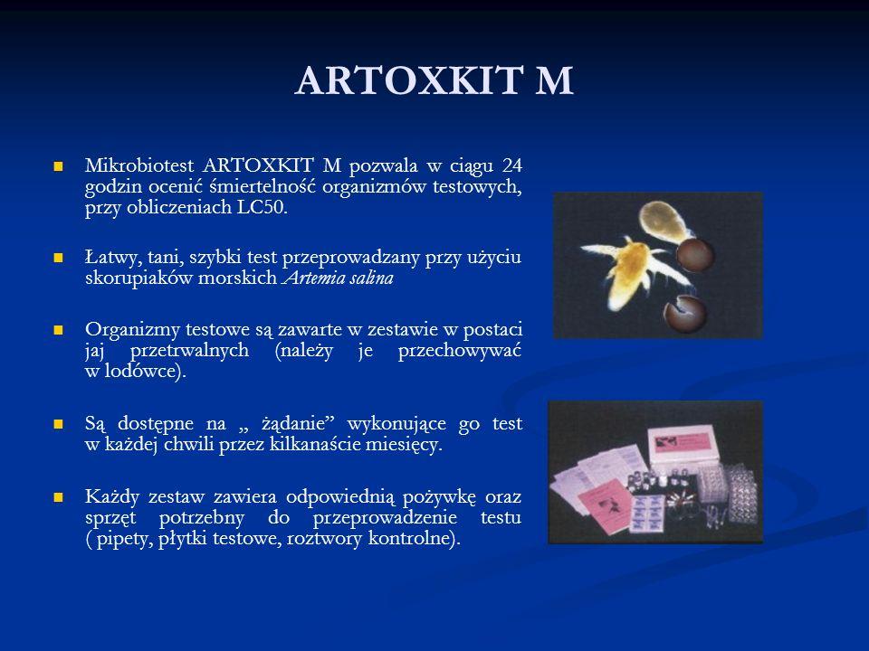 ARTOXKIT M Mikrobiotest ARTOXKIT M pozwala w ciągu 24 godzin ocenić śmiertelność organizmów testowych, przy obliczeniach LC50.