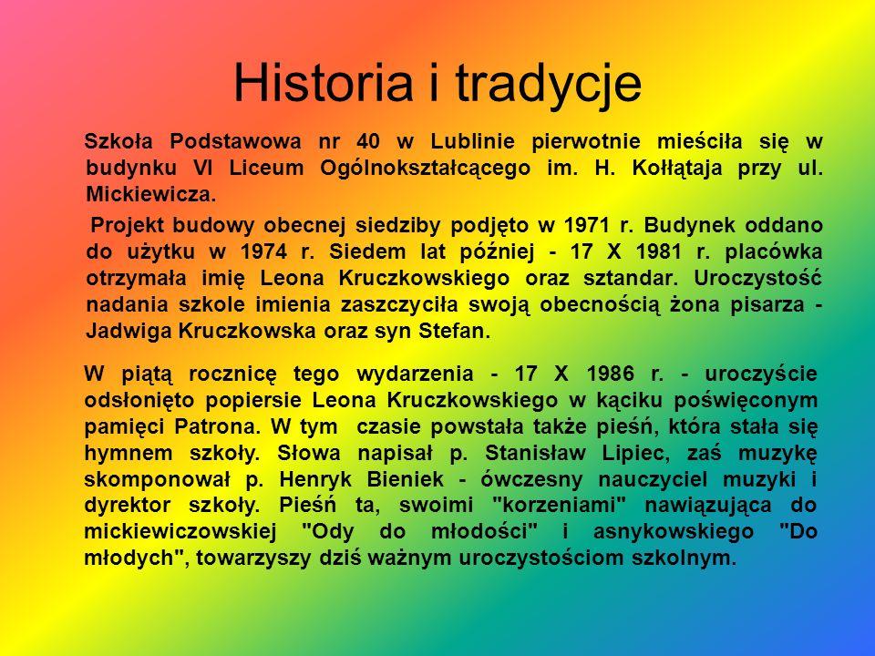 Historia i tradycje Szkoła Podstawowa nr 40 w Lublinie pierwotnie mieściła się w budynku VI Liceum Ogólnokształcącego im. H. Kołłątaja przy ul. Mickie