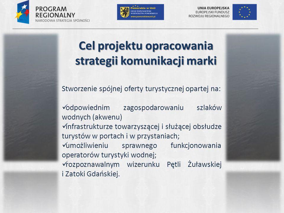 Cel projektu opracowania strategii komunikacji marki Stworzenie spójnej oferty turystycznej opartej na: odpowiednim zagospodarowaniu szlaków wodnych (akwenu) infrastrukturze towarzyszącej i służącej obsłudze turystów w portach i w przystaniach; umożliwieniu sprawnego funkcjonowania operatorów turystyki wodnej; rozpoznawalnym wizerunku Pętli Żuławskiej i Zatoki Gdańskiej.