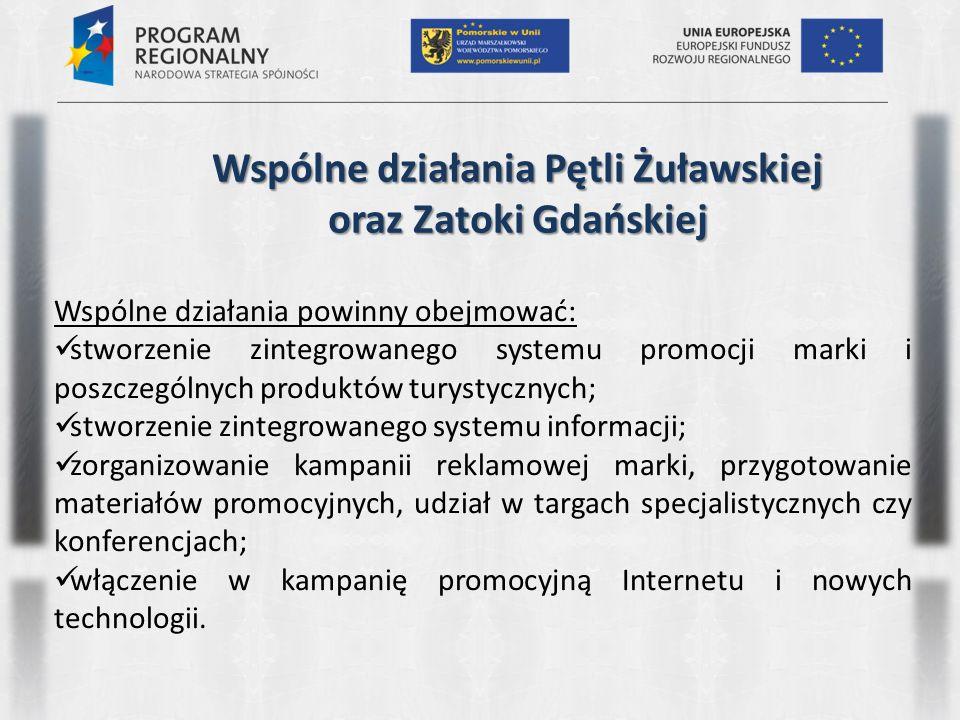 Wspólne działania Pętli Żuławskiej oraz Zatoki Gdańskiej Wspólne działania powinny obejmować: stworzenie zintegrowanego systemu promocji marki i poszc