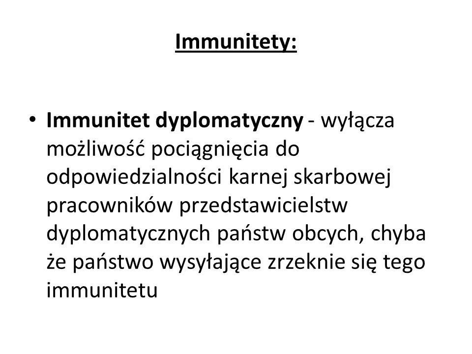 Immunitety: Immunitet dyplomatyczny - wyłącza możliwość pociągnięcia do odpowiedzialności karnej skarbowej pracowników przedstawicielstw dyplomatycznych państw obcych, chyba że państwo wysyłające zrzeknie się tego immunitetu