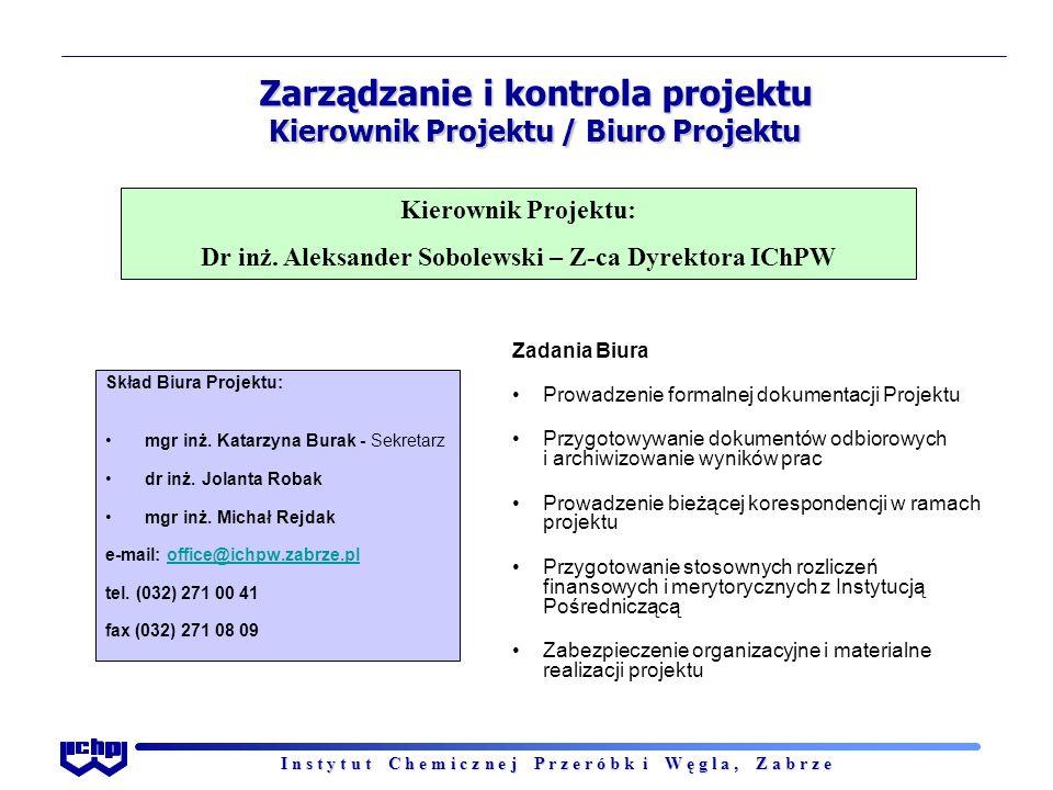 I n s t y t u t C h e m i c z n e j P r z e r ó b k i W ę g l a, Z a b r z e Zarządzanie i kontrola projektu Kierownik Projektu / Biuro Projektu Kierownik Projektu: Dr inż.