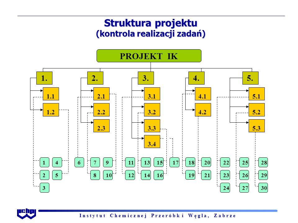 I n s t y t u t C h e m i c z n e j P r z e r ó b k i W ę g l a, Z a b r z e Struktura projektu (kontrola realizacji zadań)