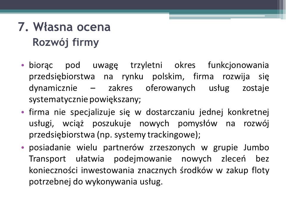 7. Własna ocena Rozwój firmy biorąc pod uwagę trzyletni okres funkcjonowania przedsiębiorstwa na rynku polskim, firma rozwija się dynamicznie – zakres