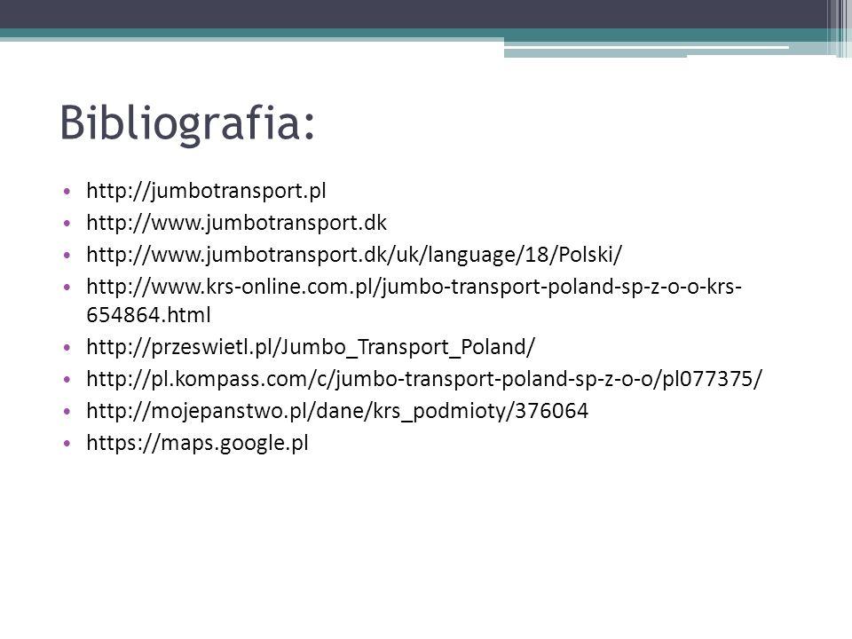 Bibliografia: http://jumbotransport.pl http://www.jumbotransport.dk http://www.jumbotransport.dk/uk/language/18/Polski/ http://www.krs-online.com.pl/j