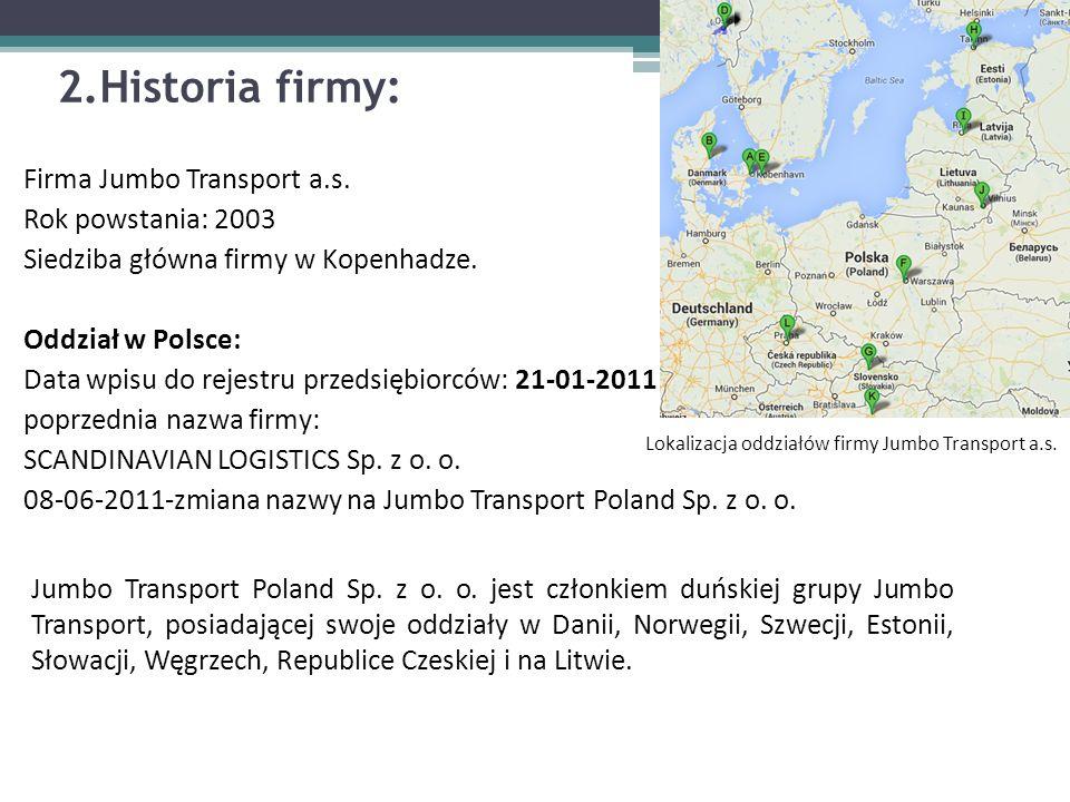 2.Historia firmy: Firma Jumbo Transport a.s. Rok powstania: 2003 Siedziba główna firmy w Kopenhadze. Oddział w Polsce: Data wpisu do rejestru przedsię