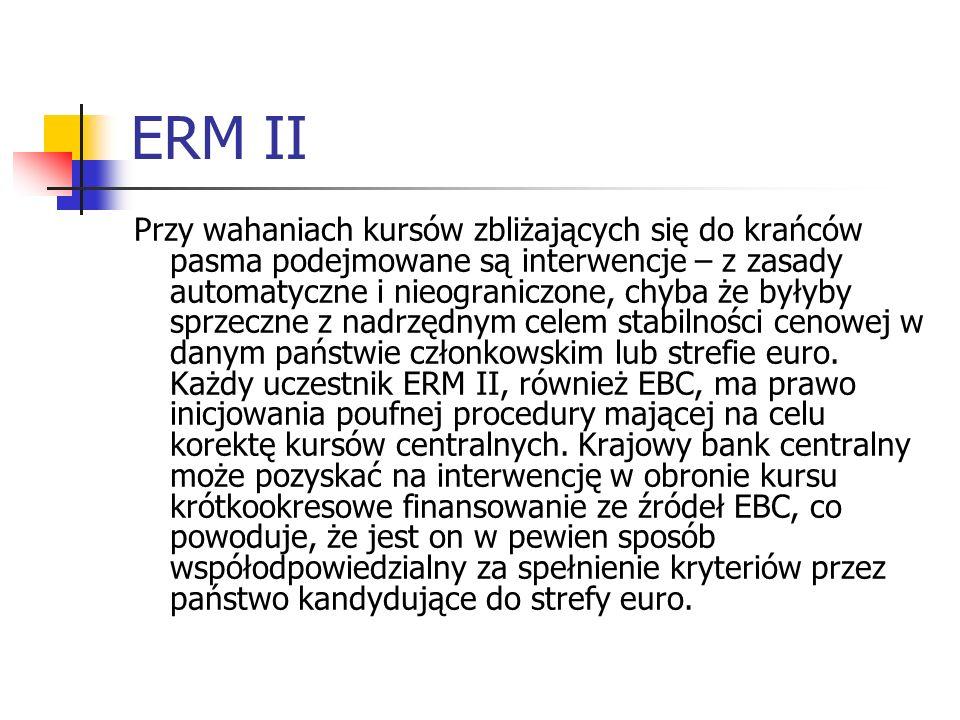 ERM II Przy wahaniach kursów zbliżających się do krańców pasma podejmowane są interwencje – z zasady automatyczne i nieograniczone, chyba że byłyby sprzeczne z nadrzędnym celem stabilności cenowej w danym państwie członkowskim lub strefie euro.