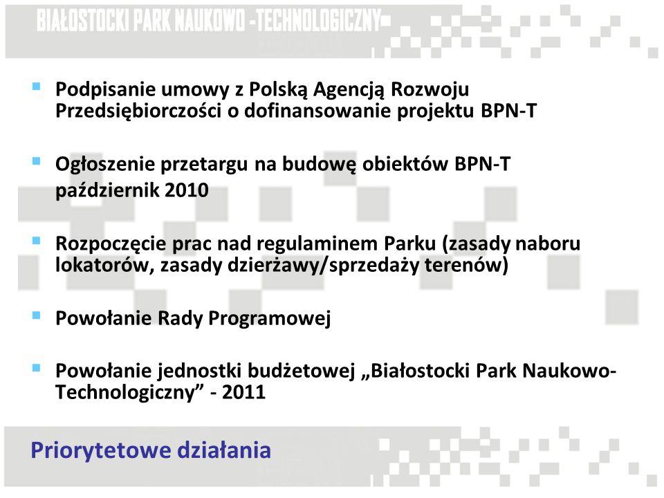 """ Podpisanie umowy z Polską Agencją Rozwoju Przedsiębiorczości o dofinansowanie projektu BPN-T  Ogłoszenie przetargu na budowę obiektów BPN-T październik 2010  Rozpoczęcie prac nad regulaminem Parku (zasady naboru lokatorów, zasady dzierżawy/sprzedaży terenów)  Powołanie Rady Programowej  Powołanie jednostki budżetowej """"Białostocki Park Naukowo- Technologiczny - 2011 Priorytetowe działania"""