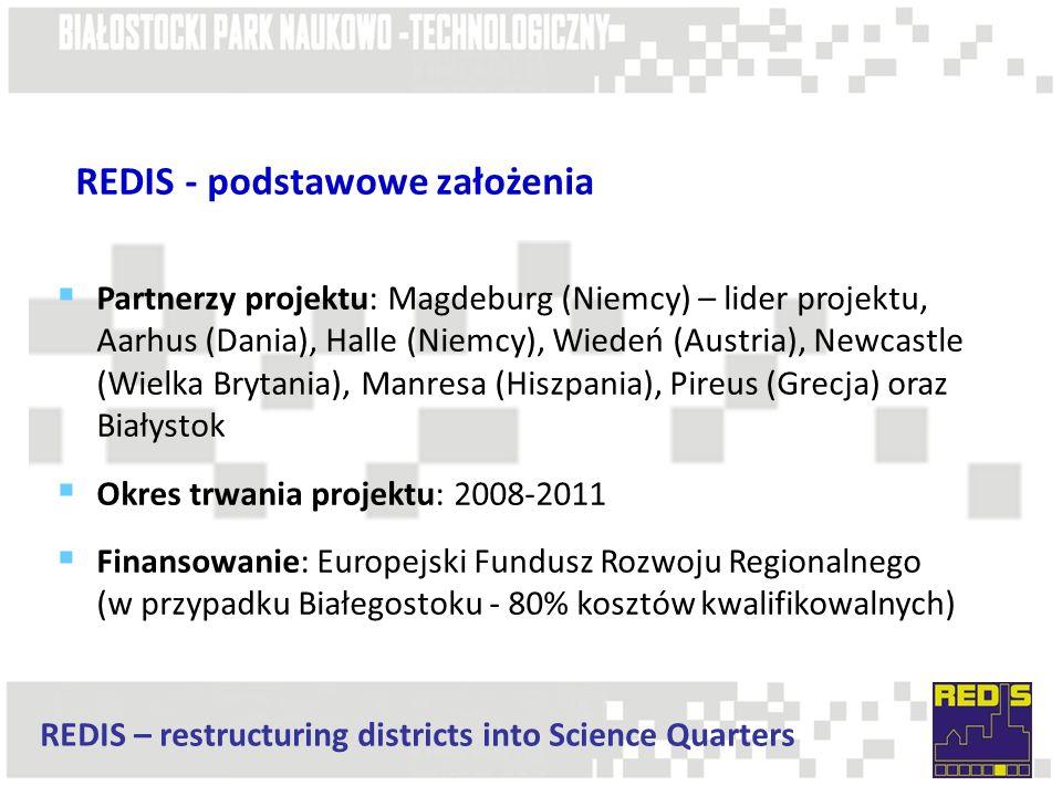 REDIS – restructuring districts into Science Quarters REDIS - podstawowe założenia  Partnerzy projektu: Magdeburg (Niemcy) – lider projektu, Aarhus (Dania), Halle (Niemcy), Wiedeń (Austria), Newcastle (Wielka Brytania), Manresa (Hiszpania), Pireus (Grecja) oraz Białystok  Okres trwania projektu: 2008-2011  Finansowanie: Europejski Fundusz Rozwoju Regionalnego (w przypadku Białegostoku - 80% kosztów kwalifikowalnych)