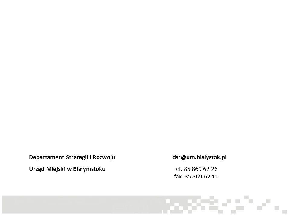 Departament Strategii i Rozwoju dsr@um.bialystok.pl Urząd Miejski w Białymstoku tel.