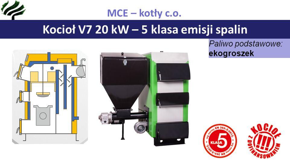 Kocioł V7 20 kW – 5 klasa emisji spalin MCE – kotły c.o. Paliwo podstawowe: ekogroszek