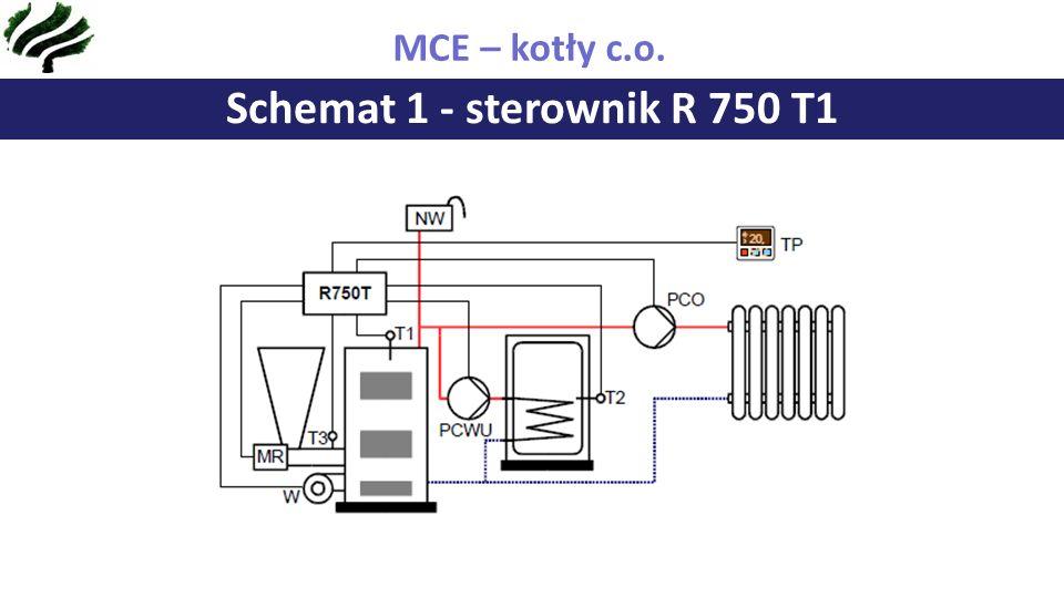 Schemat 1 - sterownik R 750 T1 MCE – kotły c.o.