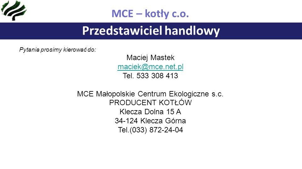 Przedstawiciel handlowy MCE – kotły c.o.
