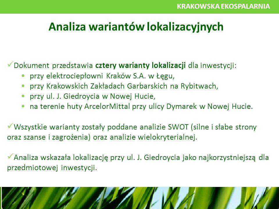 KRAKOWSKA EKOSPALARNIA Dokument przedstawia cztery warianty lokalizacji dla inwestycji: przy elektrociepłowni Kraków S.A.