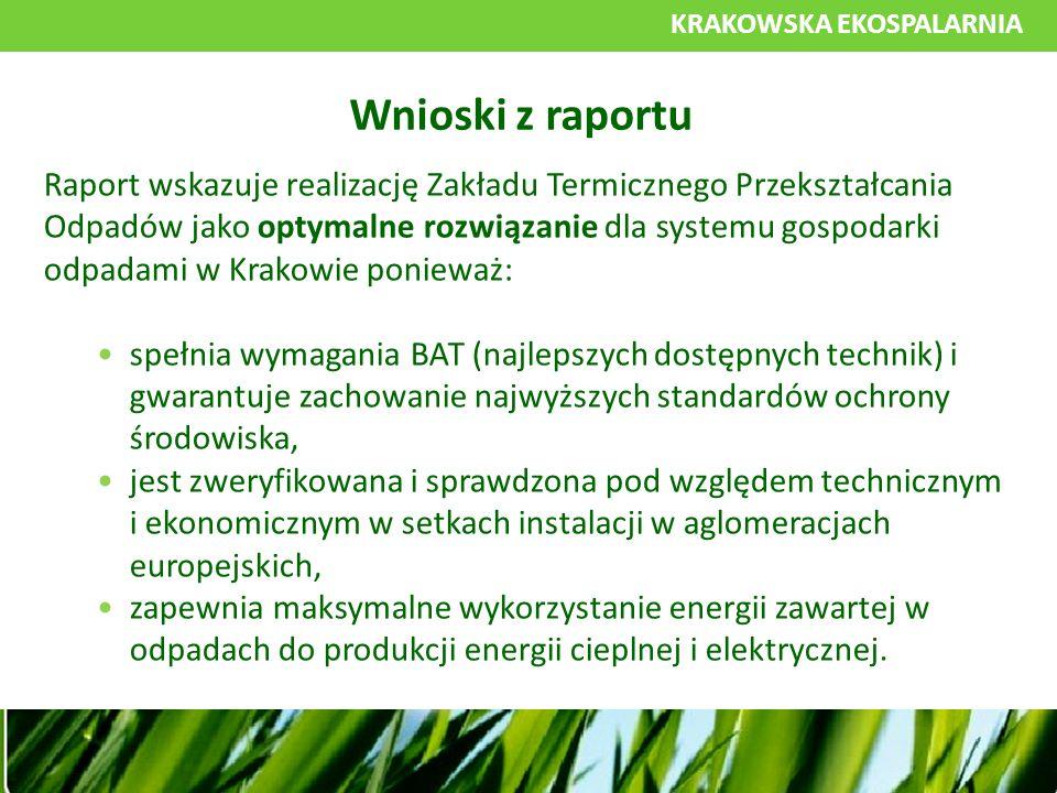 KRAKOWSKA EKOSPALARNIA Raport wskazuje realizację Zakładu Termicznego Przekształcania Odpadów jako optymalne rozwiązanie dla systemu gospodarki odpadami w Krakowie ponieważ: spełnia wymagania BAT (najlepszych dostępnych technik) i gwarantuje zachowanie najwyższych standardów ochrony środowiska, jest zweryfikowana i sprawdzona pod względem technicznym i ekonomicznym w setkach instalacji w aglomeracjach europejskich, zapewnia maksymalne wykorzystanie energii zawartej w odpadach do produkcji energii cieplnej i elektrycznej.