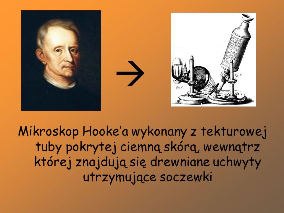 Mikroskop Hooke'a wykonany z tekturowej tuby pokrytej ciemną skórą, wewnątrz której znajdują się drewniane uchwyty utrzymujące soczewki 