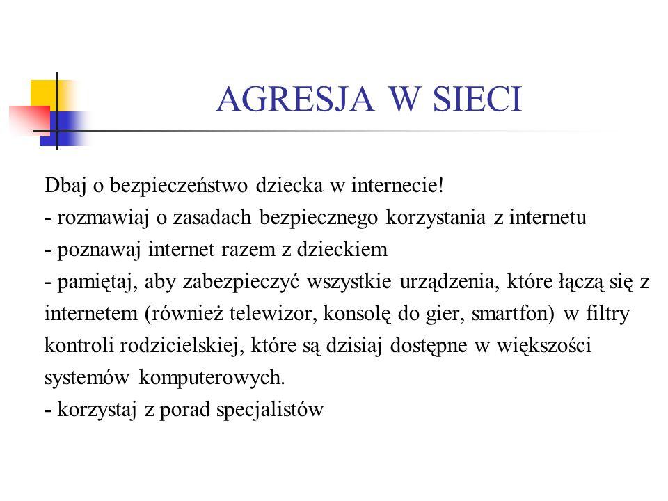 AGRESJA W SIECI Dbaj o bezpieczeństwo dziecka w internecie.