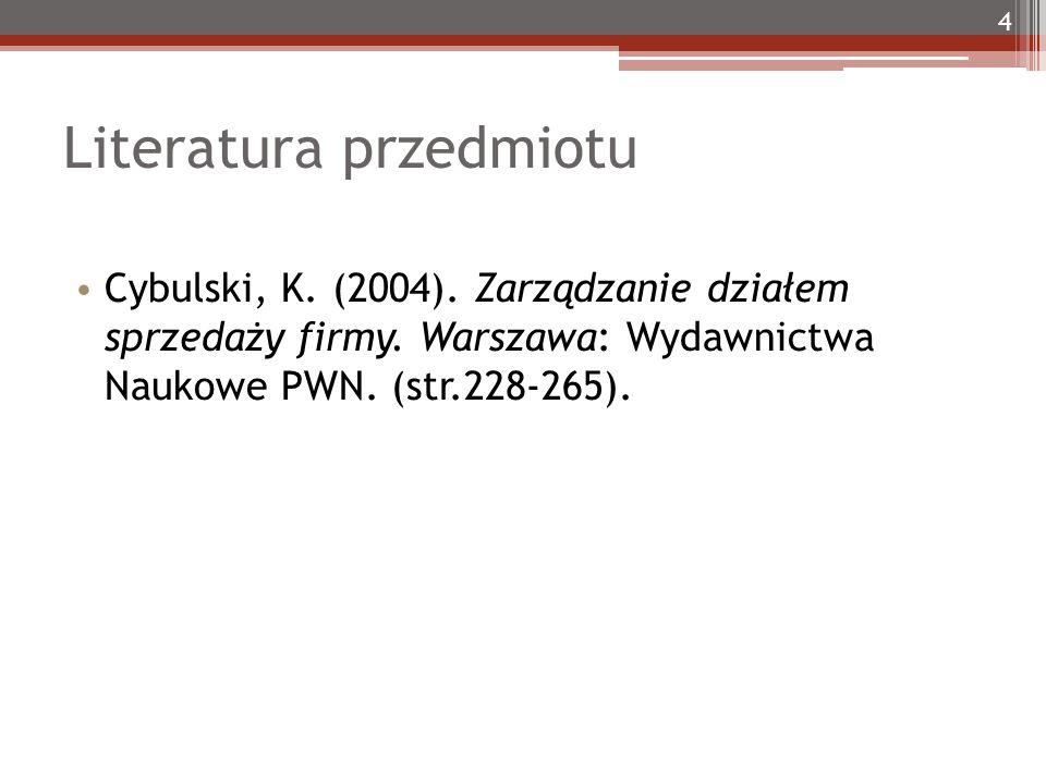 Literatura przedmiotu 4 Cybulski, K. (2004). Zarządzanie działem sprzedaży firmy. Warszawa: Wydawnictwa Naukowe PWN. (str.228-265).