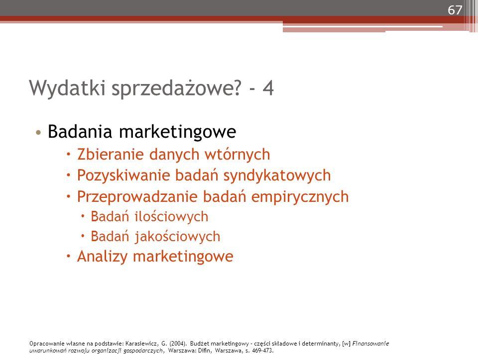 67 Wydatki sprzedażowe? - 4 Badania marketingowe  Zbieranie danych wtórnych  Pozyskiwanie badań syndykatowych  Przeprowadzanie badań empirycznych 