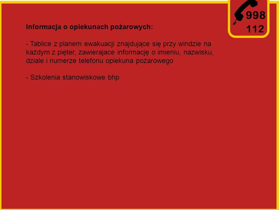 998 112 Informacja o opiekunach pożarowych: - Tablice z planem ewakuacji znajdujące się przy windzie na każdym z pięter, zawierajace informację o imieniu, nazwisku, dziale i numerze telefonu opiekuna pożarowego - Szkolenia stanowiskowe bhp