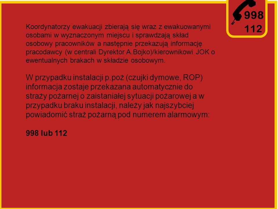 998 112 Koordynatorzy ewakuacji zbierają się wraz z ewakuowanymi osobami w wyznaczonym miejscu i sprawdzają skład osobowy pracowników a następnie przekazują informację pracodawcy (w centrali Dyrektor A.Bojko)/kierownikowi JOK o ewentualnych brakach w składzie osobowym.