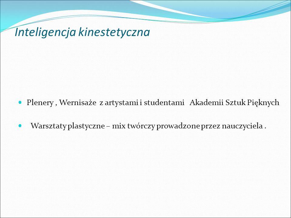 Inteligencja kinestetyczna Plenery, Wernisaże z artystami i studentami Akademii Sztuk Pięknych Warsztaty plastyczne – mix twórczy prowadzone przez nauczyciela.