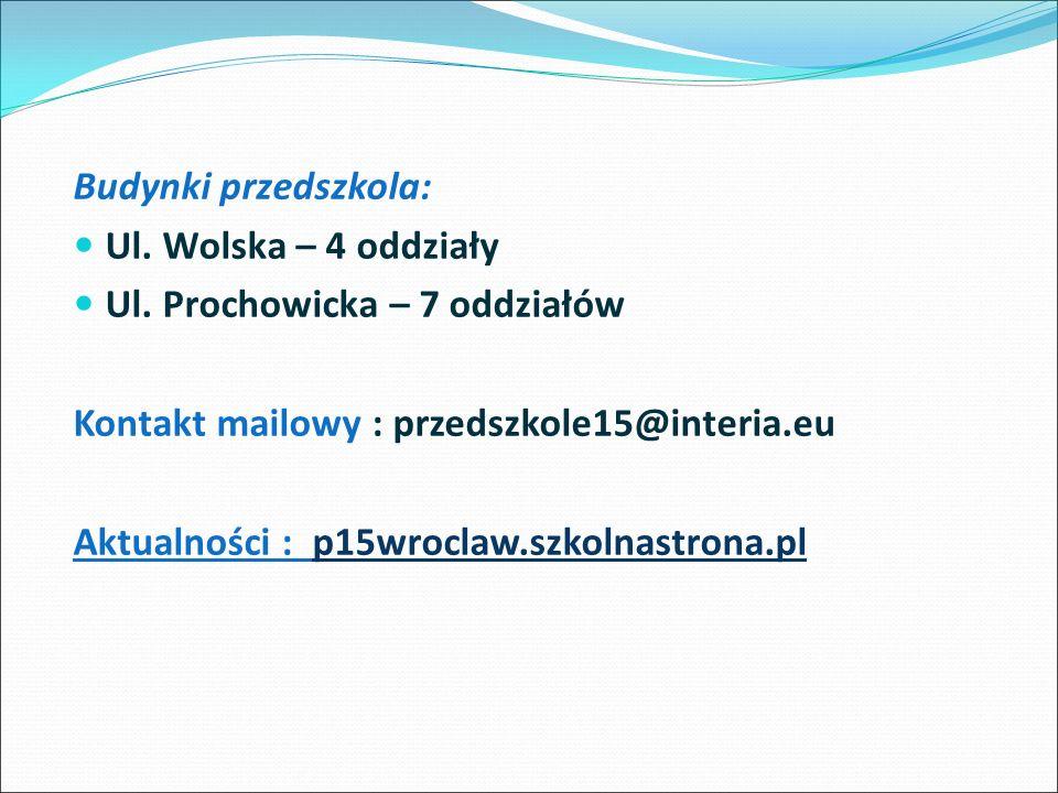 Budynki przedszkola: Ul. Wolska – 4 oddziały Ul.