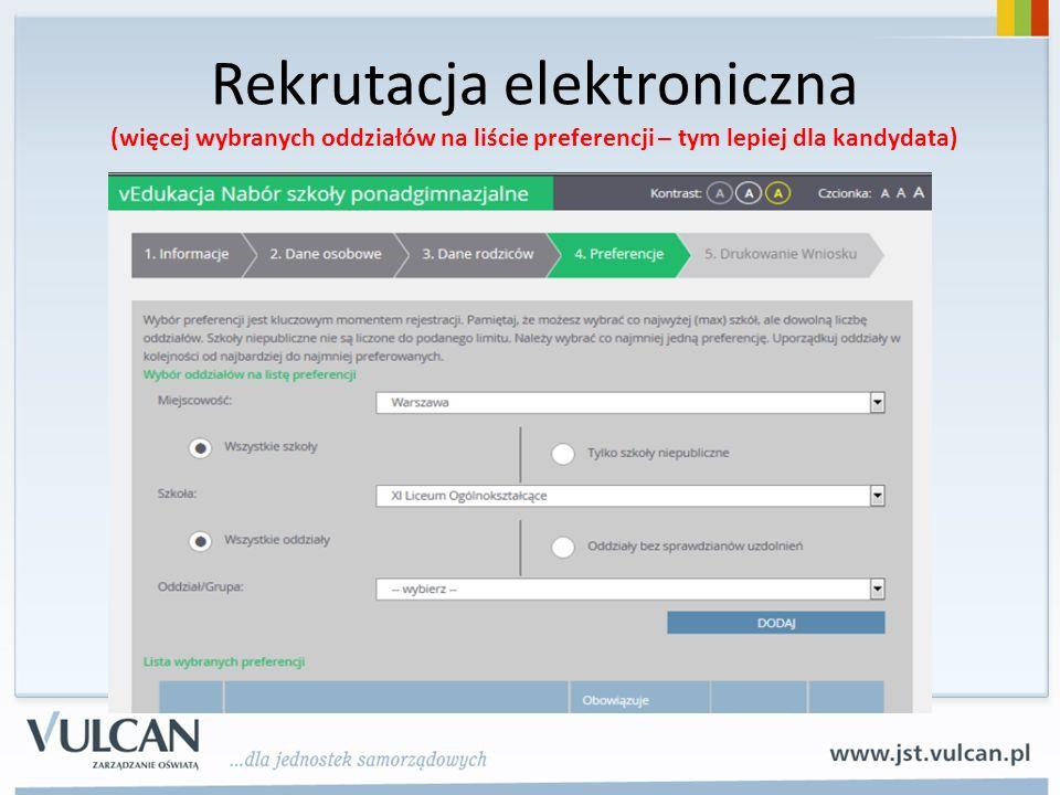 Rekrutacja elektroniczna (więcej wybranych oddziałów na liście preferencji – tym lepiej dla kandydata)