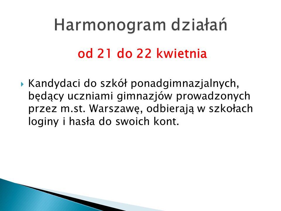 od 21 do 22 kwietnia  Kandydaci do szkół ponadgimnazjalnych, będący uczniami gimnazjów prowadzonych przez m.st. Warszawę, odbierają w szkołach loginy