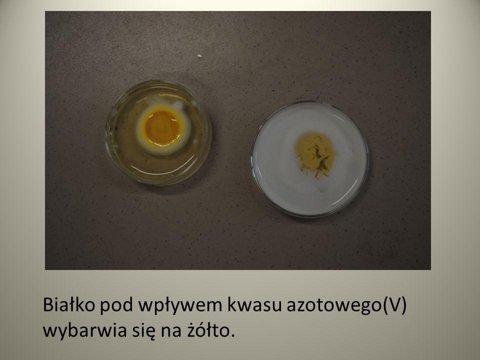 Białko pod wpływem kwasu azotowego(V) wybarwia się na żółto.