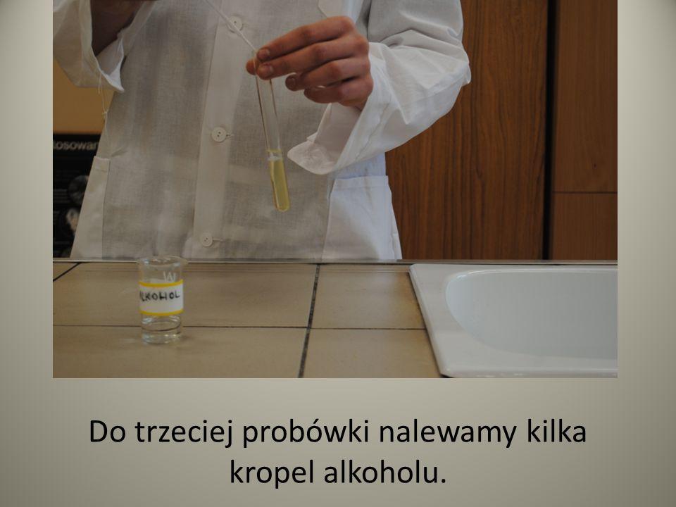 Do trzeciej probówki nalewamy kilka kropel alkoholu.