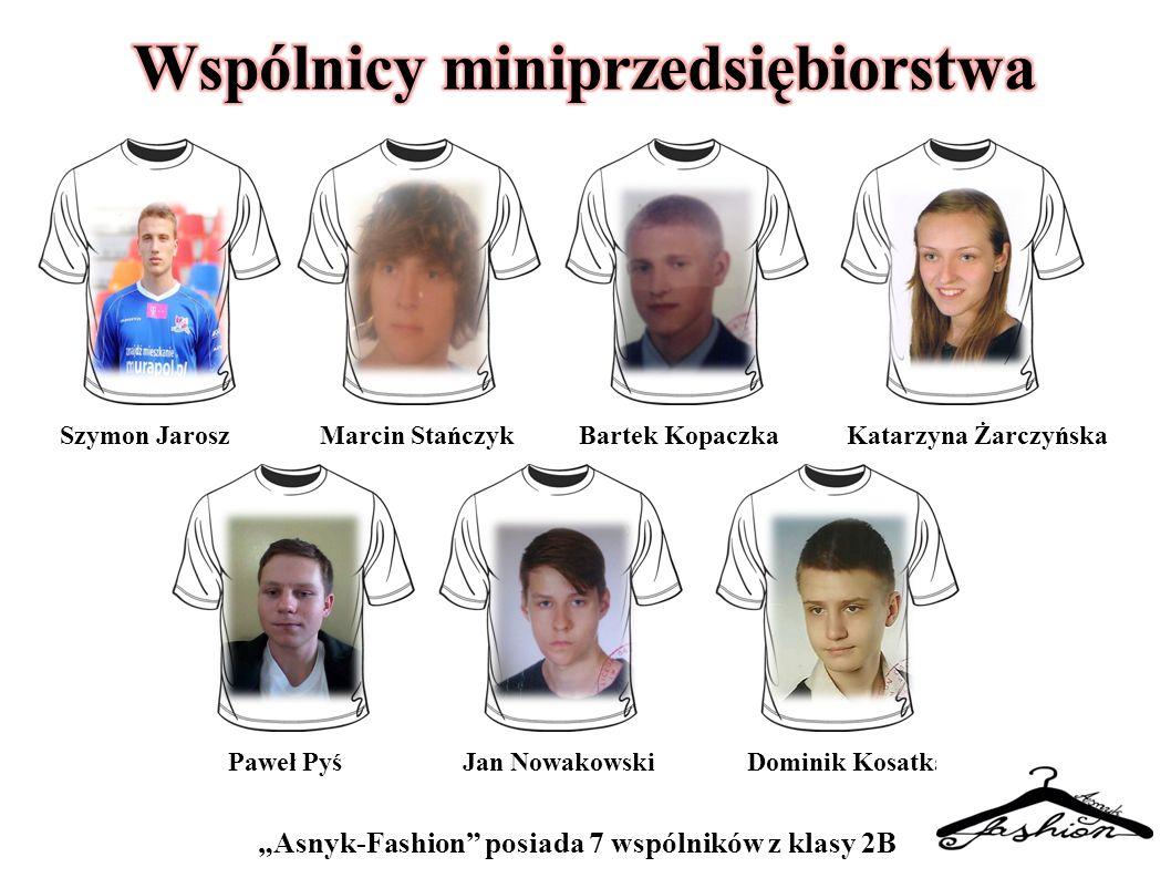 """""""Asnyk-Fashion"""" posiada 7 wspólników z klasy 2B Szymon JaroszMarcin StańczykBartek KopaczkaKatarzyna Żarczyńska Paweł PyśJan NowakowskiDominik Kosatka"""