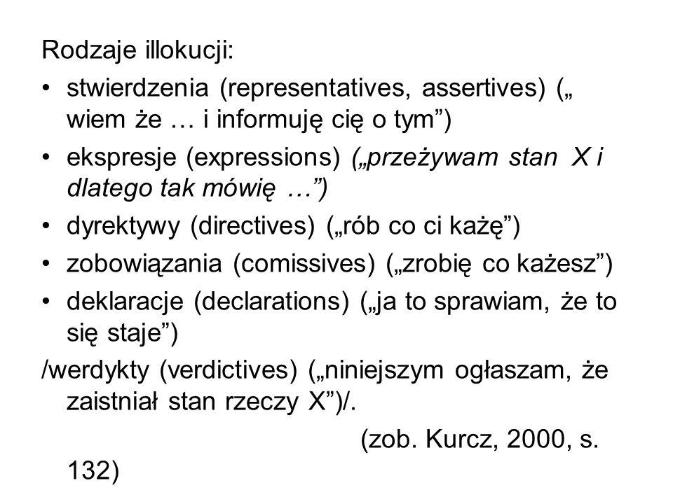 """Rodzaje illokucji: stwierdzenia (representatives, assertives) ("""" wiem że … i informuję cię o tym ) ekspresje (expressions) (""""przeżywam stan X i dlatego tak mówię … ) dyrektywy (directives) (""""rób co ci każę ) zobowiązania (comissives) (""""zrobię co każesz ) deklaracje (declarations) (""""ja to sprawiam, że to się staje ) /werdykty (verdictives) (""""niniejszym ogłaszam, że zaistniał stan rzeczy X )/."""
