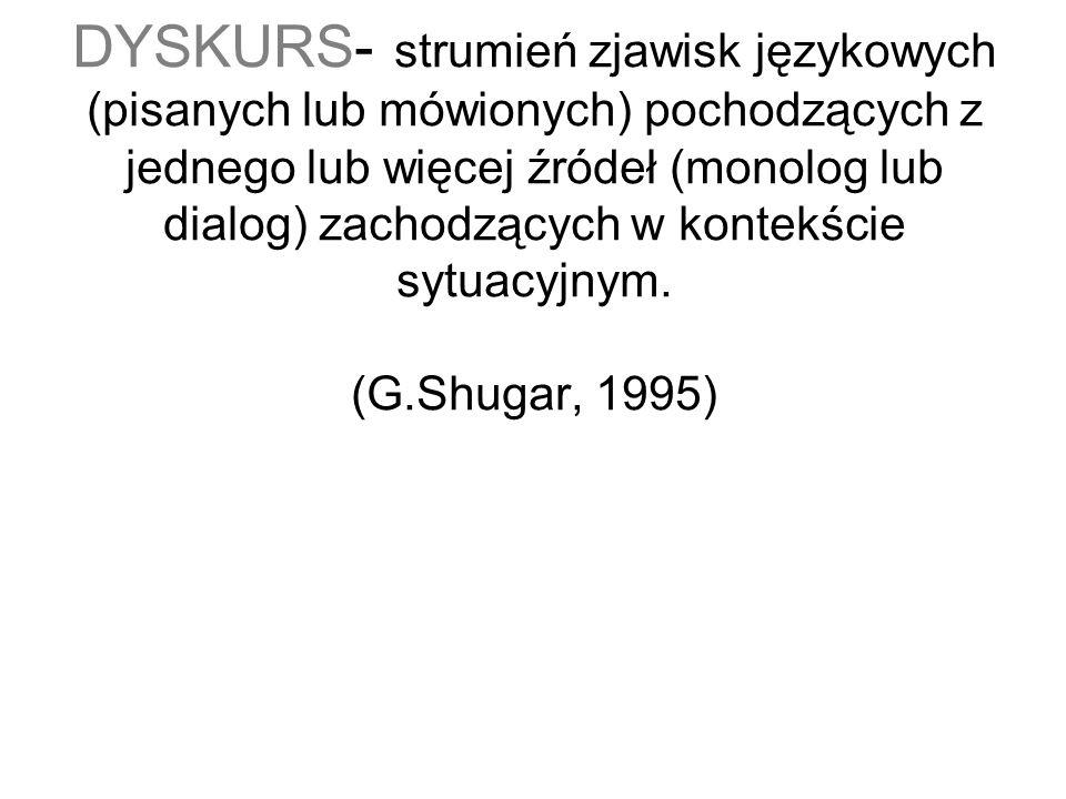 DYSKURS- strumień zjawisk językowych (pisanych lub mówionych) pochodzących z jednego lub więcej źródeł (monolog lub dialog) zachodzących w kontekście sytuacyjnym.