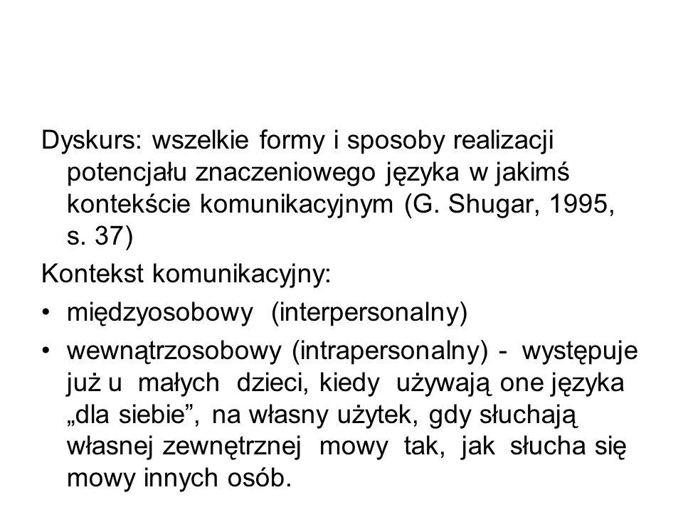 Dyskurs: wszelkie formy i sposoby realizacji potencjału znaczeniowego języka w jakimś kontekście komunikacyjnym (G.