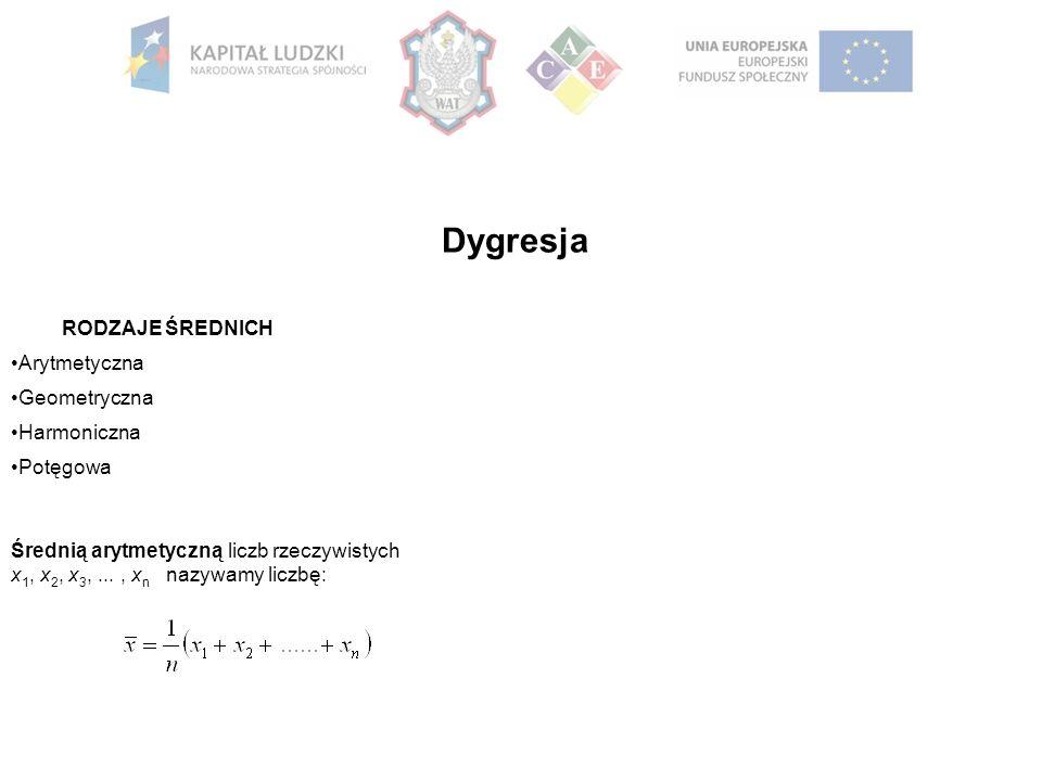 Dygresja RODZAJE ŚREDNICH Arytmetyczna Geometryczna Harmoniczna Potęgowa Średnią arytmetyczną liczb rzeczywistych x 1, x 2, x 3,..., x n nazywamy liczbę: