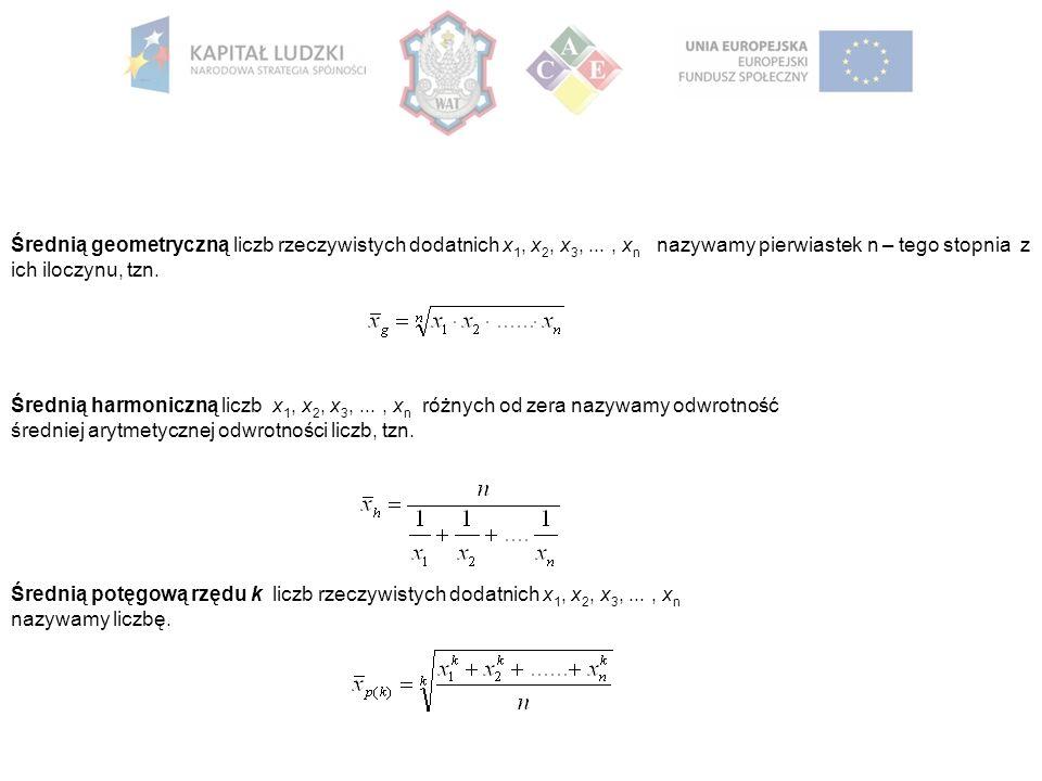 Średnią geometryczną liczb rzeczywistych dodatnich x 1, x 2, x 3,..., x n nazywamy pierwiastek n – tego stopnia z ich iloczynu, tzn.