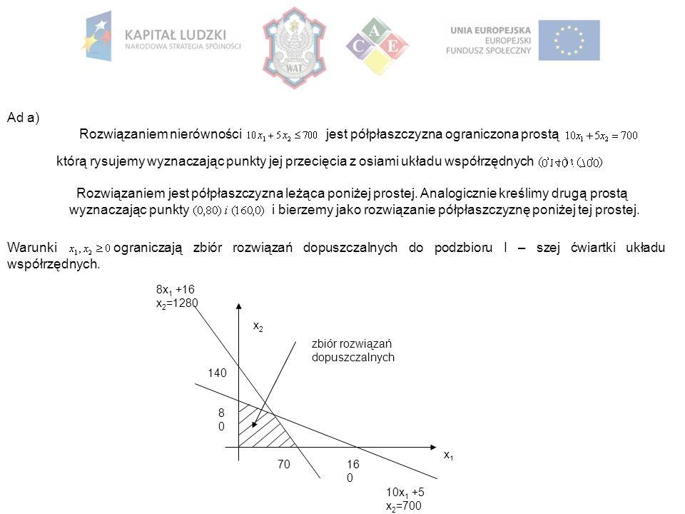 Ad a) Rozwiązaniem nierówności jest półpłaszczyzna ograniczona prostą którą rysujemy wyznaczając punkty jej przecięcia z osiami układu współrzędnych Rozwiązaniem jest półpłaszczyzna leżąca poniżej prostej.